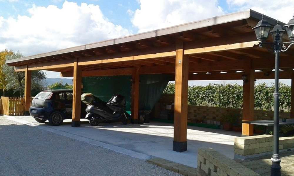Tecnowood Brescia, pergolato in legno copertura auto